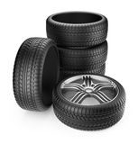 Tire with metal wheel. 3D Icon  Stock Images