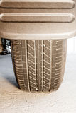 Tire and mudguard. In closeup of a car that stopped Royalty Free Stock Photo