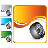 Tire on orange wave background. Orange wave advertisement with a tire icon Royalty Free Stock Photos
