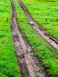Tire Path In Greenfield Stock Photo