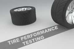 Tire Performance Testing concept. 3D illustration of Tire Performance Testing title with two tires as a background Stock Photos