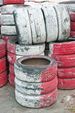 Tire Pile in A Racing Circuit. Tire Pile in Racing Circuit royalty free stock image
