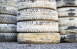 Tire Pile in A Racing Circuit. Pile of auto tires on a race track stock photography