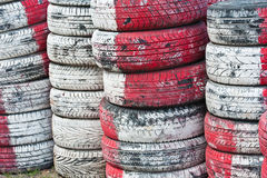 Tire Pile in A Racing Circuit Stock Photo