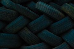 Tire Pile. Waiting for recycling in Chippewa Falls royalty free stock photo