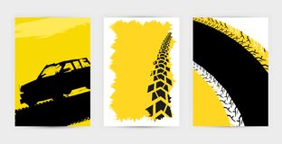 Tire Poster Background. Vector automotive posters template. Grunge tire tracks backgrounds for landscape poster, digital banner, flyer, booklet, brochure and web vector illustration