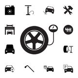 Tire pressure gauge. Car wheel with manometer icon. Set of car repair icons. Signs, outline eco collection, simple icons for websi. Tes, web design, mobile app Stock Photo