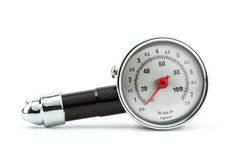 Tire Pressure Gauge. Closeup Tire Pressure Gauge isolated on white background stock photo