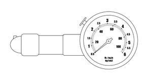 Tire pressure gauge. Contour. Tire pressure gauge. Mechanic measurement auto service tool. Contour lines illustration  on white Stock Photos