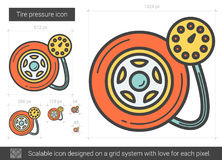 Tire pressure line icon. Tire pressure vector line icon isolated on white background. Tire pressure line icon for infographic, website or app. Scalable icon Royalty Free Stock Image
