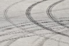 Tire prints. Black tire prints on asphalt Stock Photos