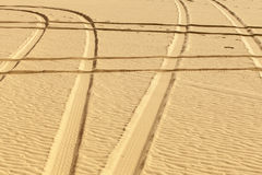Tire prints in the desert Stock Photos
