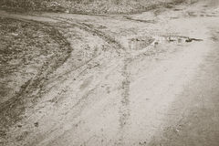 Tire prints. In the mud royalty free stock photos