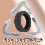 Tire Recycling concept. 3D illustration of TIRE  RECYCLING title with a rubber tire in a recycling symbol as a background Royalty Free Stock Photography