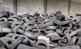 Tire recycling industry stock photo
