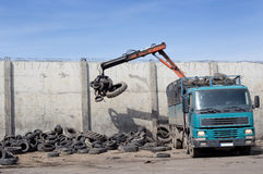 Tire recycling industry Stock Images