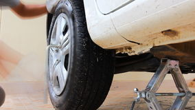 Tire repair stock video footage