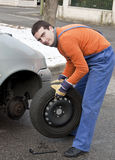 Tire repairer  working Stock Photo