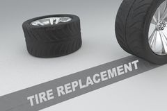 Tire Replacement concept. 3D illustration of TIRE REPLACEMENT title with two tires as a background Stock Photos