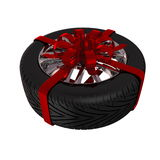 Tire with ribbon Stock Photos