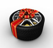 Tire with ribbon - 3d render Royalty Free Stock Photo