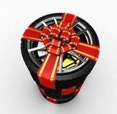 Tire with ribbon - 3d render Royalty Free Stock Image