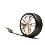 Tire and rim with tread. On a white background Stock Photography