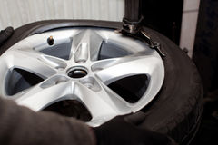 Tire rotation closeup Stock Photo
