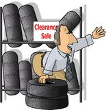 Tire salesman vector illustration