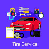 Tire Service Automobile Flat Concept Stock Photography