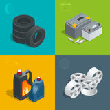Tire service car auto, repair icons flat 3d set isolated vector isometric illustration. Consumables for car Royalty Free Stock Photo