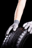 Tire in service. Car tires during service in the workshop royalty free stock image