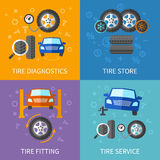 Tire service flat concepts vector set Stock Images