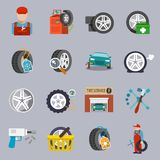 Tire service icon flat Stock Image