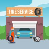 Tire service poster Stock Images