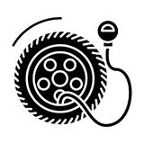 Tire service with pump - tire pressure icon, vector illustration, black sign on isolated background. Tire service with pump - tire pressure icon, illustration Royalty Free Stock Photography