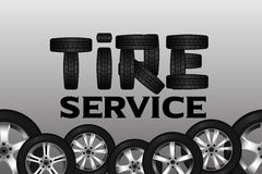 Tire service with wheel seamless border. Shining car disk design background Stock Images
