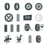 Tire shop concept. Black tire icons set. Service, diagnostics, replacement. Automobile rubber tire shop logotype. Black tire icons logo set. Car wheels Stock Photos