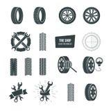 Tire shop concept. Black tire icons set. Service, diagnostics, replacement. Stock Photos