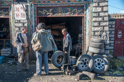 Tire shop service Stock Images