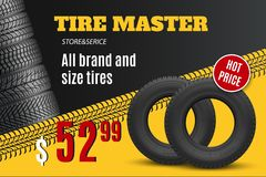 Car tire shop or auto wheel tyre store sale offer. Tire shop vector banner of car wheel tyres with tread track and sale price offer. Tire shop, spare parts and vector illustration