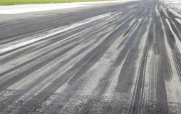 Tire skid marks. Skid marks on runway in touchdown area Stock Image