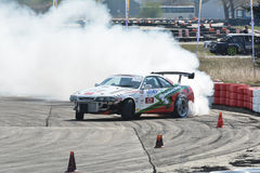 Tire smoked. Drift show at the airport, Tököl, Hungary. Photo taken to: April 12th, 2015 Royalty Free Stock Photo