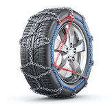 Tire with snow chain. Car wheel with snow chain - 3D illustration Stock Photos