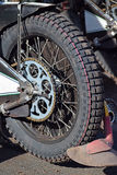 Tire of a speedway motorcycle. Back tire of a speedway motorcycle stock image