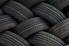 Tire stack background. Industrial tires in a stack. Ideal for backgrounds or manufacturing factories or distribution companies Royalty Free Stock Images