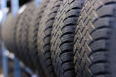 Tire stack background. Selective focus Stock Images