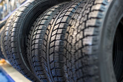 Tire stack background. Selective focus Royalty Free Stock Photography