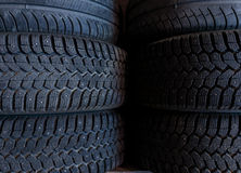 Tire stack background.  Selective focus Stock Photos