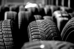 Tire stack background. Selective focus. stock photos
